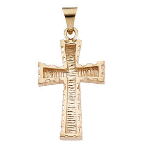 14K Gold Cross Pendant 23x16 mm