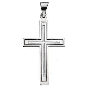 14K Gold Cross Pendant White 18x12 mm