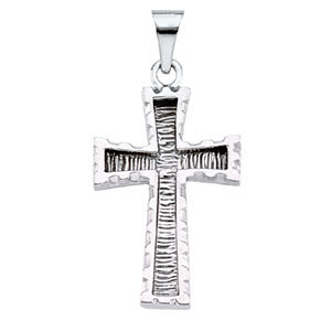 14K Gold Cross Pendant White 23x16 mm