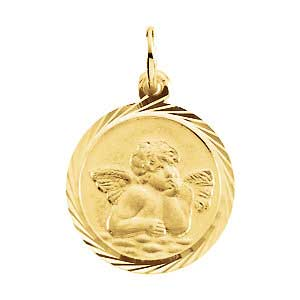 14K Gold Angel Medal 14.0 mm