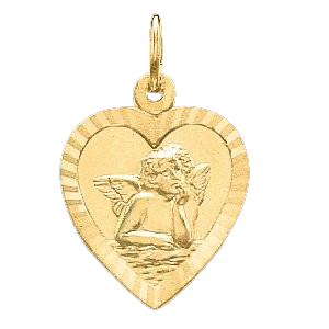 14K Gold Heart Angel Pendant