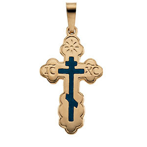14k gold byzantine cross pendant wblue enamel mozeypictures Image collections