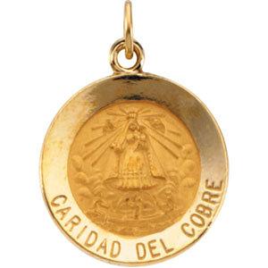 14K Gold Caridad Del Cobre Medal