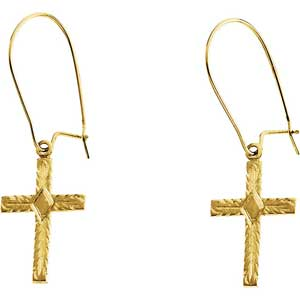 14K Gold Cross Earrings 13x10 mm