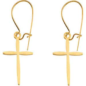 14K Gold Cross Earrings 17x11 mm