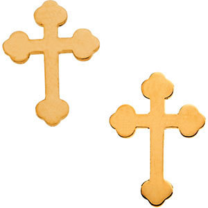 14K Gold Cross Earrings 11x8 mm