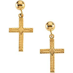 14K Gold Cross Earrings w/Ball 13x10 mm