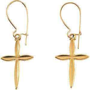14K Gold Cross Earrings 18x13 mm