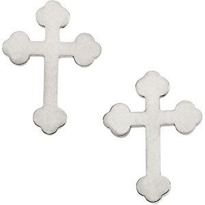 14K Gold Cross Earrings White 11x8 mm