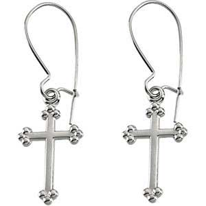 14K Gold Cross Earrings White 14x9 mm
