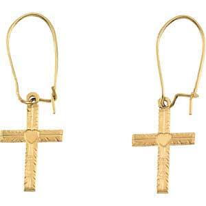 14K gold cross heart earrings