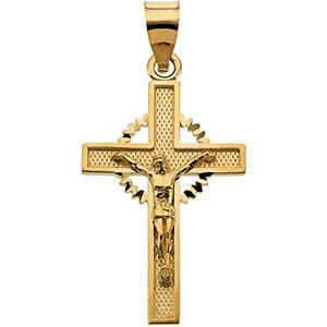 14KY Crucifix Pendant 24.5x15.5 mm