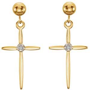 14K Gold Diamond Cross Earrings 0.01 ctw