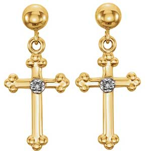Diamond Cross Earrings 0.01 ctw