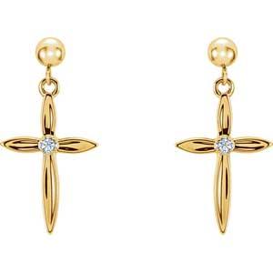 Diamond Cross Earrings 18x13 mm