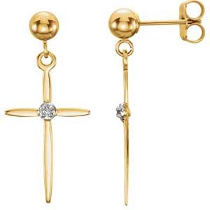 14K Gold Diamond Cross Earrings Side 0.01 ctw