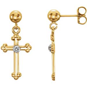 14K Gold Diamond Cross Earrings Side 0.01 ctw
