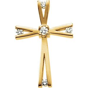 14K Diamond Cross Pendant 0.08 ctw
