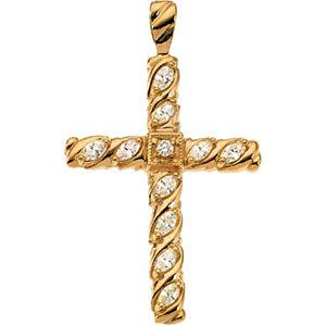 14K Diamond Cross Pendant 3/4 ctw