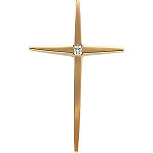 14KY Diamond Cross Pendant 0.03 ctw