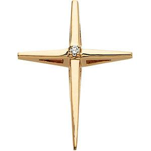 14K Diamond Cross Pendant 0.02 ctw