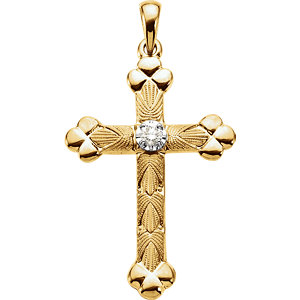14KTT Diamond Cross Pendant 1/10 ctw