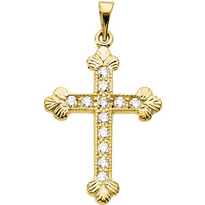14K Diamond Cross Pendant 1/5 ctw