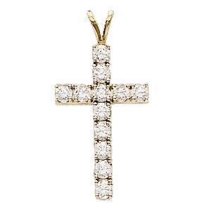 14K Diamond Cross Pendant 1.20 ctw