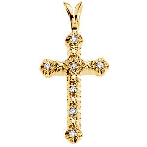 14K Diamond Cross Pendant 0.07 ctw