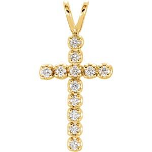 14K Diamond Cross Pendant 1/8 ctw