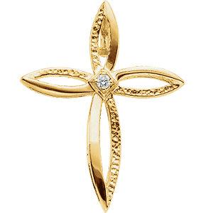 Lrg Diamond Cross Pendant 0.03 ctw