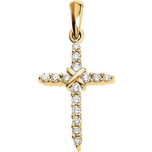 14K Diamond Cross Pendant 0.23 ctw