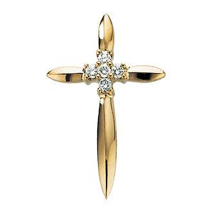 14K Diamond Cross Pendant 1/15 ctw