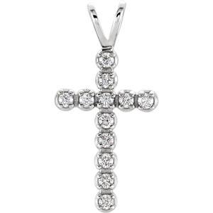 14K Diamond Cross Pendant White 1/8 ctw