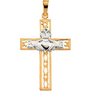 14KTT Filigree Claddagh Cross Pendant 27.5x19.5 mm