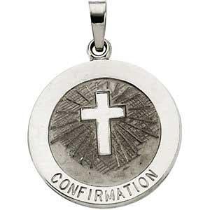 14K Gold Confirmation Medal White