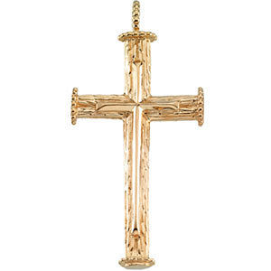 14K Gold Cross Pendant 39x23 mm