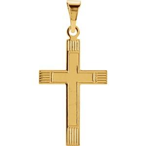 14K Gold Cross Pendant 18x12 mm