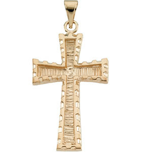 14K Gold Cross Pendant 30x20 mm