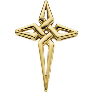 14K Gold Cross Pendant 29x21 mm