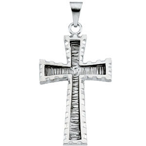 14K Gold Cross Pendant White 30x20 mm