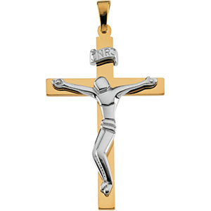 14KTT Gold Crucifix 28.5x19 mm