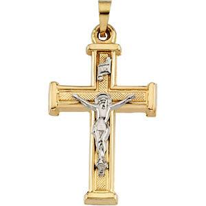14KTT Crucifix Pendant Hollow 25x18 mm