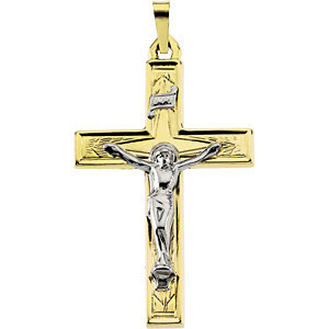 14K Gold Crucifix Hollow 32x22 mm