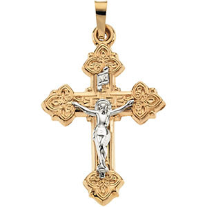 14K Gold Crucifix Hollow 20x16 mm