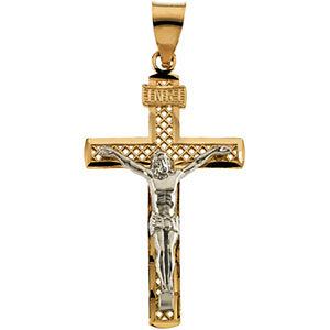 14K Gold Crucifix Pendant 25.5x16 mm