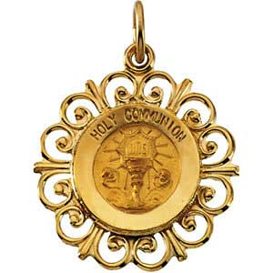 14K Gold First Holy Communion Pendant