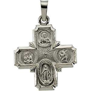 14K Gold Four Way Cross White