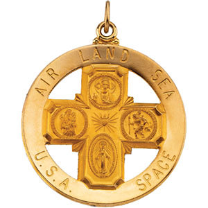 14K gold Four Way Medal Air, Land, Sea, and Space