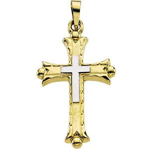 14K Gold Cross Pendant Hollow 25.5x18 mm